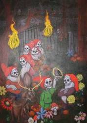 Massive Five by Seven foot Day of the Dead Gnomes Painting